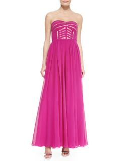 Womens Strapless Banded Bodice Gown, Deep Berry   Aidan by Aidan Mattox   Deep