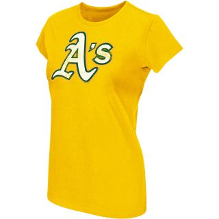 G III Womens Oakland Athletics Logo Short Sleeve T Shirt   Size Medium, Gold