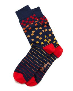Squares Mens Socks, Navy   Arthur George by Robert Kardashian   Navy