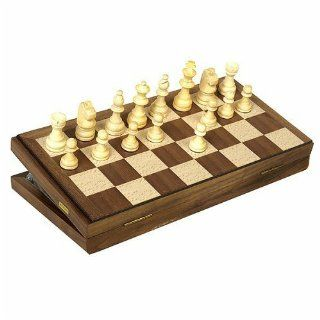 Travel Magnetic Walnut Chess Set Toys & Games