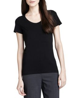 Womens Juin 2 Short Sleeve Tee, Black   Theory   Black (PETITE)