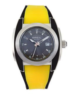 Mens Mediterraneo Rubber Strap Watch, Yellow   Breil   Yellow