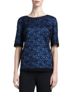 Womens Floral Lace Jewel Neck Top, Caviar/Blue   St. John Collection   Caviar