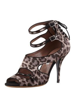 Bailey Double Wrap Leopard Print Calf Hair Sandal   Tabitha Simmons   Grey