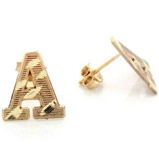 14k Real Yellow Gold Diamond Cut Letter A Initial Unisex Post Earring Jewelry