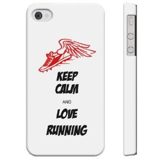 SudysAccessories Keep Calm And Love RUNNING iPhone 4 Case iPhone 4S Case   SoftShell Full Plastic Direct Printed Graphic Case Cell Phones & Accessories