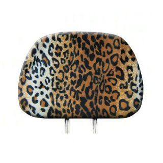 Leopard Print Car Truck Seat Headrest Cover 1pc Beige and Black Automotive