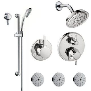 "Hansgrohe HG T303 Brushed Nickel C C Shower Faucet with Thermostatic / Volume Control Trim, Diverter Trim, Single Function Shower Head, Shower Arm, Multi Function Hand Shower, 63"" Techniflex Hose, Wall Bar, 3 Body Sprays and Wall Supply Less Thermosta"