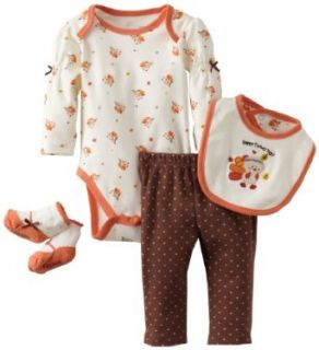 Vitamins Baby Girls Newborn 4 Piece Creeper Pant Set Happy Turkey Day Clothing
