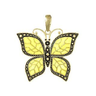 Sterling Silver Charm Butterfly Yellow Wings Stained Glass Million Charms Jewelry