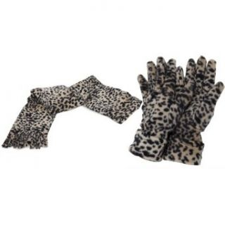 Ladies/Womens Leopard Print Soft Feel Winter Scarf & Gloves Set (65 inches x 9.8 Inches) (Beige/Black)