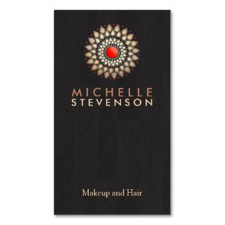 Gold and Red Motif Wood Grain Look Black Cool Business Card Template