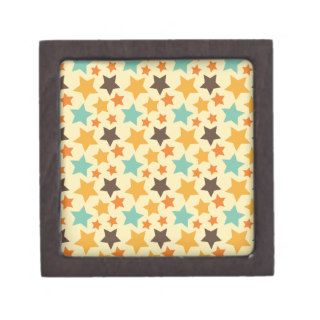 Vintage Colorful Stars Pattern Premium Gift Box