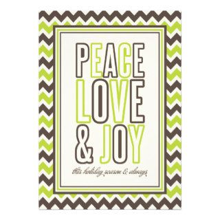 Christmas Chevron Peace Love & Joy Holiday Card Custom Invites
