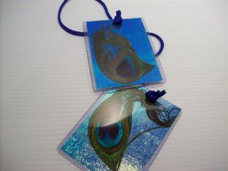 Peacock Feathered Luggage Tags Set of Two
