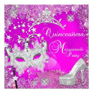 Masquerade Quinceanera 15th Party Tiara Shoe Custom Invitation