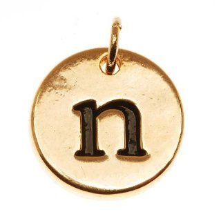 22K Gold Plated 1/2 Inch Round Alphabet Charm Lowercase Letter 'n'