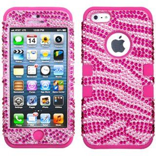Hot Pink Zebra HyBrid HyBird Bling Case Cover For Apple iPhone 5 5S with Free Pouch Cell Phones & Accessories
