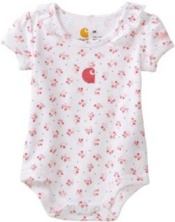 Carhartt Baby girls Infant Printed Cherries Bodyshirt, White, 3 Months Infant And Toddler Bodysuits Clothing