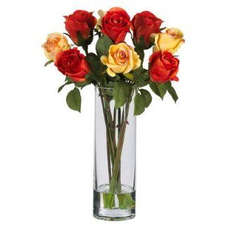Nearly Natural Roses w/Glass Vase Silk Flower Arrangement   Artificial Mixed Flower Arrangements