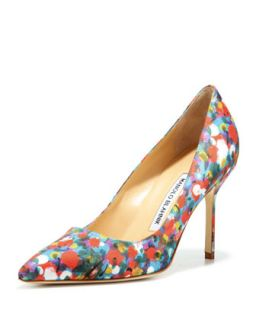 BB Satin 90mm Pump, Floral   Manolo Blahnik   Floral (39.5B/9.5B)