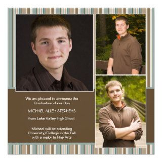 Blue and Brown Stripe Photo Graduation Announcemen Custom Invitation