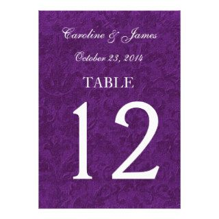 Purple Traditional Damask Table Numbers Wedding Custom Invites