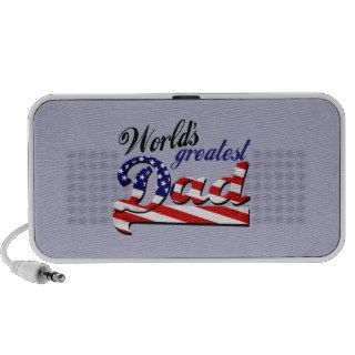 World's greatest dad with American flag Notebook Speakers