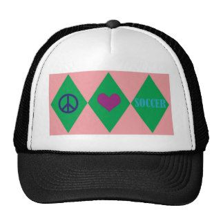 Peace Love and Soccer Argyle Trucker Hats