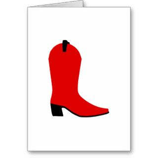 Red and Black Boot Greeting Cards