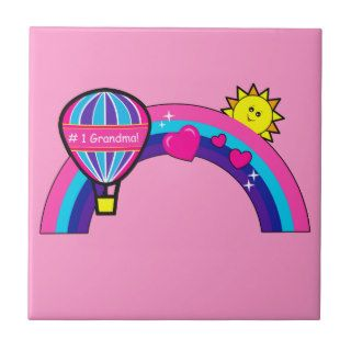 Number One Grandma Hot Air Balloon and Rainbow Tiles