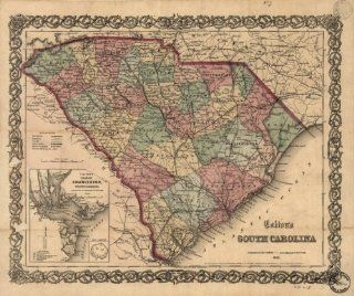 1865 Civil War map South Carolina Coltons South Carolina. Insets Coltons plan   Wall Maps