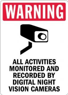 "SmartSign Aluminum Sign, Legend ""Warning Monitored by Night Vision Cameras"" with Graphic, 14"" high x 10"" wide, Black/Red on White Industrial Warning Signs"