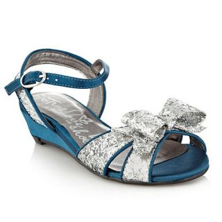 bluezoo Girls turquoise glitter bow wedge sandals