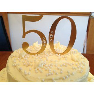 Cathy's Concepts 50th Wedding Anniversary Rhinestone Cake Topper, Gold Decorative Cake Toppers Kitchen & Dining