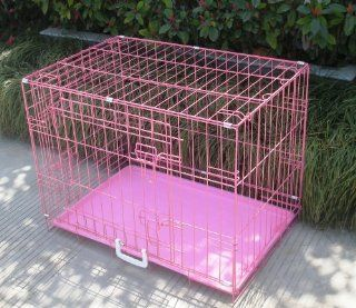 "New Pink 24"" Pet Folding Suitcase Dog Cat Crate Cage Kennel Pen w/ABS Tray LC  Kennel For Cats"