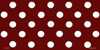 White Polka Dots Burgundy Background Customizable Aluminum Automotive Novelty License Plate Tag Sign Automotive
