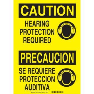 "Brady 38428 Self Sticking Polyester, 7"" X 10"" Caution/Precaucion Sign Legend, ""Hearing Protection Required/Se Requiere Proteccion Auditiva"" Industrial Warning Signs"