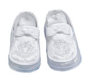 Lauren Madison baby boy Christening Baptism Special occasion Infant Satin Loafer Style Shoes, White, Large Clothing