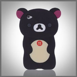 Zany 3D Black Big Cute Teddy Bear silicon silicone soft case cover for Apple iPod Touch 4 4G Cell Phones & Accessories