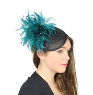 Hats By Cressida Black/Teal Feather Kentucky Derby Fascinator Hat With Headband Clothing