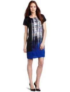Kenneth Cole New York Women's Petite Placed Brush Stroke Printed Tunic Dress, Black Combo, Petite/X Small