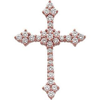 14K Rose Gold Diamond Cross Pendant   0.90 Ct.    LIFETIME WARRANTY Jewelry