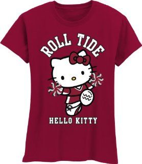 NCAA Alabama Crimson Tide Hello Kitty Pom Pom Girls Crew Tee Shirt (Cardinal, 4/5)  Sports Fan T Shirts  Sports & Outdoors