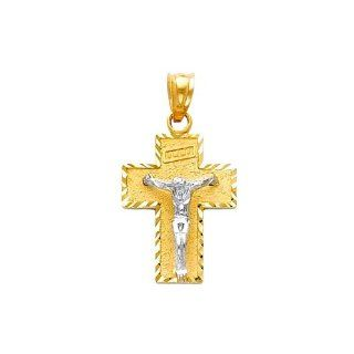 14K Yellow and White 2 Two Tone Gold Religious Jesus Cross Charm Pendant The World Jewelry Center Jewelry