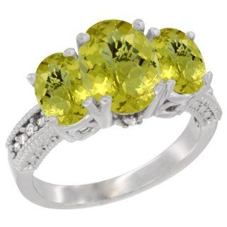 10K White Gold Natural Lemon Quartz Ring Ladies 3 Stone 8x6 Oval Diamond Accent, sizes 5   10 Jewelry