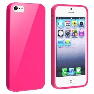 Generic TPU Rubber Skin Case for iPhone 5   Retail Packaging   Hot Pink Jelly Cell Phones & Accessories