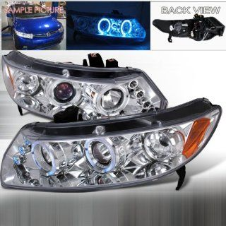 06 07 08 09 10 Honda Civic 2doors Halo Projector Headlights   Chrome (Pair) Automotive