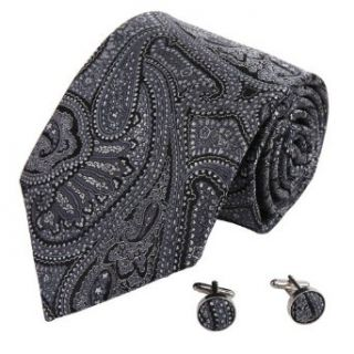 A8011 Black Wedding Ties Patterned Woven Silk Present Box Set 2PT By Y&G at  Men�s Clothing store Neckties