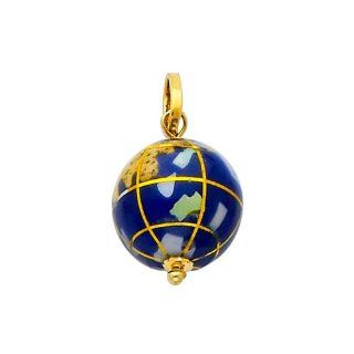 14K Yellow Gold Earth Globe Enamel Charm Pendant The World Jewelry Center Jewelry